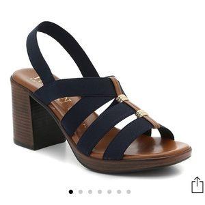 {Italian Shoemaker} navy blue block heel sandal